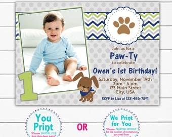First Birthday Party Invitation Dog Birthday Party