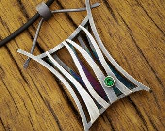 Garden Gate Pendant: Fabricated Sterling Silver & Green Topaz