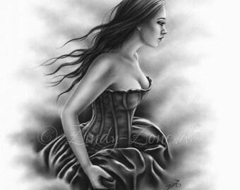 Searching Running Away Goth Victorian Dress Girl Emo Zindy Nielsen