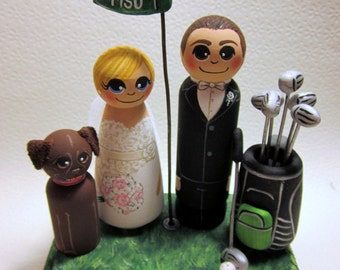 Wedding Cake Topper / Custom Painted Wood Peg Dolls with Plaque and Gear / Golf / Sports Fan