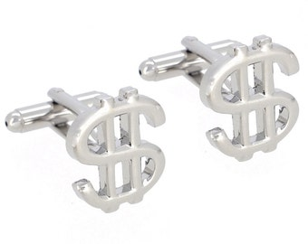Silver Dollar Sign Money Cufflinks