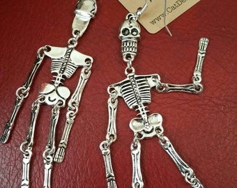 Articulated Skeleton Earrings Long Dangle Drop Fun Funky Gift sister friend Day of the Dead  Steampunk Goth Halloween Bling Shoulder Dusters