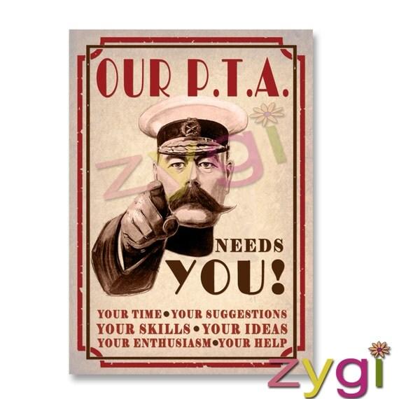 Printable Pta Poster Kitchener Our Pta Needs You Vintage