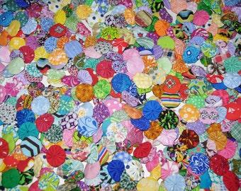 "100  Multi Color Fabric YoYos, 1"" Size"