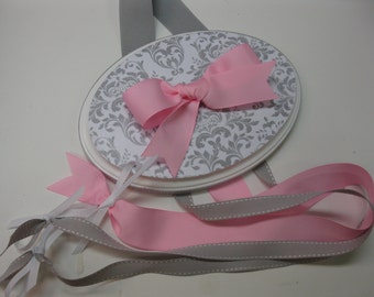 Gray and White Damask with Pink Ribbon Bow Holder