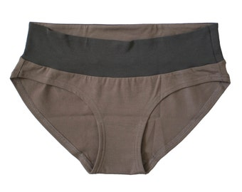 Wide band panty - Taupe organic cotton + Charcoal bamboo Underwear