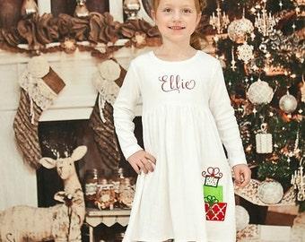 SALE, Christmas Dress, Christmas Knit Dress, Appliqued Dress, Toddler Girls Dress, Embroidered Dress, Monogrammed Dress, Baby Girls Dress