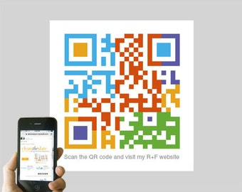 Personalized Rodan + Fields QR code logo design - custom business card design, promote R + F Independent Consultant website - skincare, OOAK