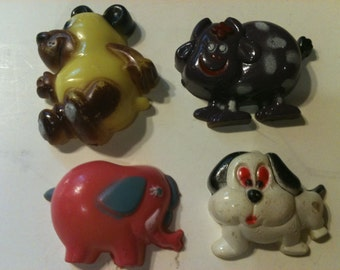 Vintage Set of 4 Animal Magnets