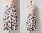 vintage 1940s skirt / 40s novelty print skirt / 1940s cotton skirt / Postcards from the Edge skirt