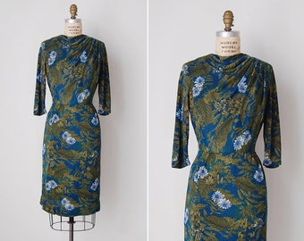 vintage 1950s dress / 50s wiggle dress / blue floral dress / Nymphaeaceae dress