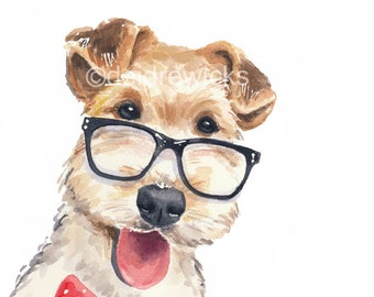 Dog Watercolor PRINT - Wire Fox Terrier, 5x7 Illustration Print, Dog With Glasses