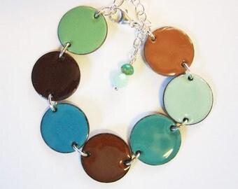 Teal / brown enamel bracelet Big turquoise disc bracelet Modern enamel bohemian jewelry Colorful aqua reversible bracelet