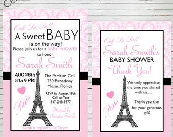 Paris Invitation Bridal Shower Baby Shower Birthday Party Editable Invitation Templates Eiffel Tower Parisian Theme Editable Invitation BD60