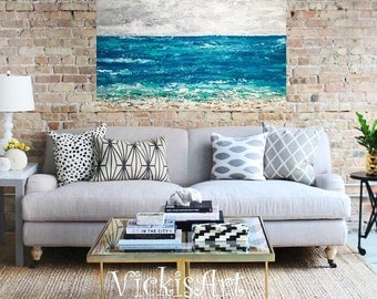 Ocean Landscape Seascape 40 x 30 h x 1 Original Painting on Gallery Wrapped Canvas Wall Art Coastal Free Shipping in US Ready to Ship