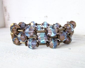 Purple and Blue Antique Gold Memory Wire Bracelet, Rustic Blue Antique Gold Beaded Memory Wire Bracelet