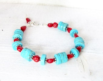 Coral and Turquoise Beaded Bracelet, Silver, Turquoise, and Red Coral Beaded Bracelet, Southwestern Wrap