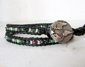 Ruby Zoisite Black Leather Wrap Bracelet, Ruby Red and Green Sterling Silver Black Double Wrap Bracelet, Green Map Bracelet, Globe Bracelet
