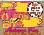 Pumpkin Etsy Banner Set - Fall Shop Banner - Facebook Shop Graphics - Thanksgiving Shop Banner -Autumn Etsy Cover Photo - Banner Shop Set