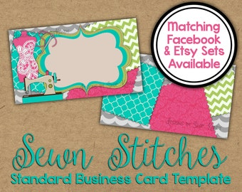 Sewn Stitches Business Card - 2 sided Sewing Business Card - Vista Print Business Card Template - Sewing Business Card - Embroidery Shop