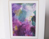 Hand painted card purple raspberry  green gold abstract design blank note card