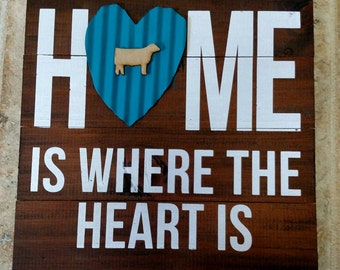 Home is where the heart is sign with custom color heart and cow