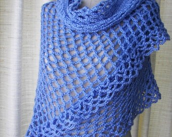 Baby BLUE Hand Crochet Shawl Triangle Scarf in Anti Pill Acrylic / Ready to ship / Vegan Wrap Shawl/ Bridal Shawl/ Something Blue