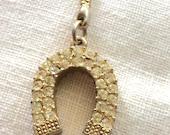 Gorgeous Rhinestone Encrusted Lucky Horseshoe Keychain Key Holder Fob Goldtone Vintage Horse Lover Gift Good Luck