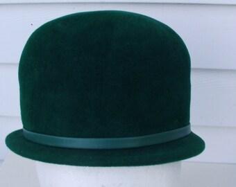 1930s Jane E. Peachbloom Green Velour Fur Bucket Hat Dowton Abby Gatsby Merrimac Body Imported Fur Irish Leprechaun Union Made Steampunk