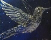 Original Hummingbird Painting  - Miniature - Galaxy Art