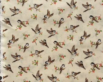 SALE : Forest Frolic Heidi Boyd chickadees ivory Red Rooster fabric FQ or more