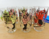 1950s Drink Glasses Tumblers - Oriental Theme Man Woman Pagoda - 6 Set Mid Century Pink Yellow Red