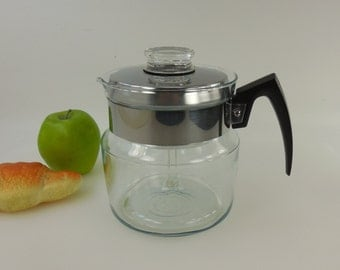 Pyrex Flameware Coffee Pot Percolator 4-6 Cups - Model 8856 B... Stainless Blue Glass Black Handle