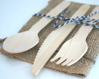 48 Wooden Utensils - Disposable Wood Cutlery Silverware 16 of each fork, knives and spoons