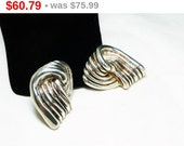 Huge Statement Sterling Silver Earrings - Abstract Knot Signed Electrotermed 925 Runway Clip on Style