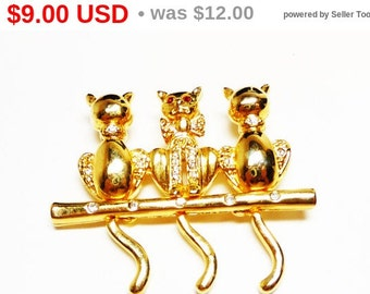 Kitty Cat Brooch - Three Cats with on a bench with Hanging Tails - Goldtone Kittens - Red Rhinestone Eyes - Vintage figural Pin