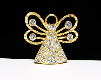 Vintage Rhinestone Angel Brooch - Signed Chico's - Goldtone Modern Figural