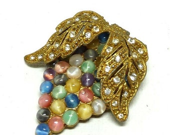 Pastel Leaf Clip - Dress Clip Brooch - Art Nouveau with Goldtone Leaves, Rhinestones & MoonGlow Beads