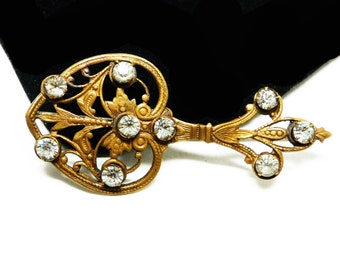 Victorian Rhinestone Brooch - 1900 to 1910 Stamped Brass Pin - Art Nouveau Floral Vine - Early Century Jewelry