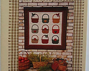 """RARE Homespun Baskets 36""""x 36"""" Wall Quilt Pattern #108 by Ina Sutton Country Quilts UNCUT"""