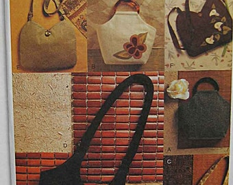 Vogue 7812 Sewing Pattern, Misses' Handbags, Purses, Lined Bags, Accessories UNCUT