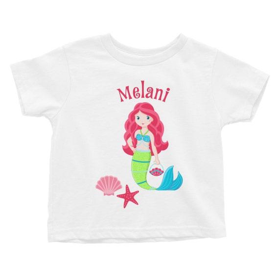 Mermaid personalized kids tee shirt custom by limerikeedesigns for Custom kids t shirts