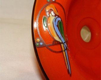 Vintage Art Deco 1959 CZECH Chechoslovakia Glass BOWL w/ Hand Painted PARROT