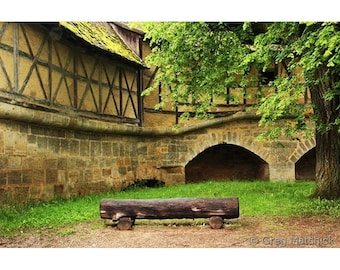 Fine Art Color Travel Photography of Log Bench in Courtyard in Rothenburg, Germany