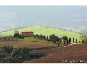 "Fine Art Color Landscape Photography of Tuscany - ""Farmhouse and Illuminated Hill"""
