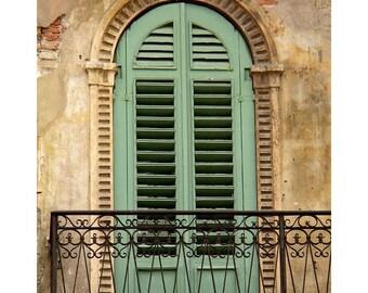 """Fine Art Color Photography of Verona Balcony - """"Green Shutters and Balcony in Verona"""" (Italy)"""