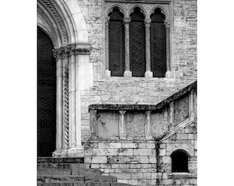 "Fine Art Black & White Architecture Photography of Building in Italy - ""Architectural Elements in Perugia"""