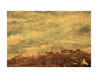 "Fine Art Sepia Photography of Tuscan Landscape - ""View of Montepulciano"" - Vintage Style Print"
