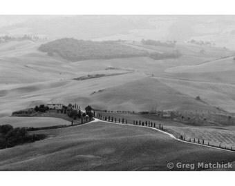 Fine Art Black & White Landscape Photography of Farm Fields in Tuscany
