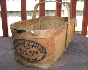 Vintage Adorable Split Wood Berry Basket Market Basket Advertising Ontario